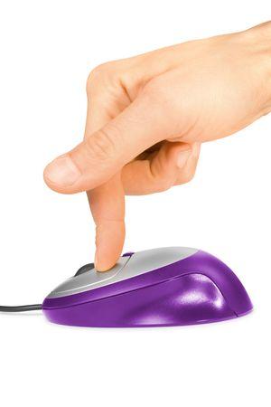 klik: paars computermuis en vinger geïsoleerd op wit Stockfoto