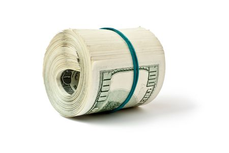 big money roll isolated on white background Stock Photo - 4998223