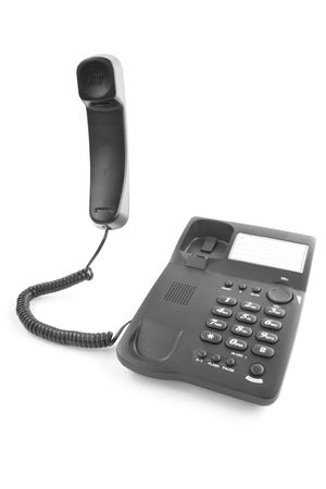 black office phone with the handset lifted upwards photo