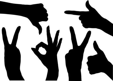 icons illustration. black silhouette of woman hand. Stock Illustration - 5043579