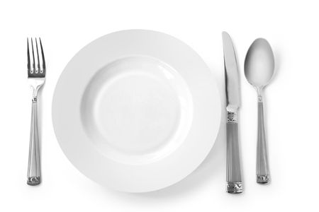 plate with kitchen utensils. fork, knife and spoon