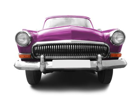 purple car: vintage transport. retro car isolated on white background Stock Photo