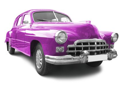 purple car: vintage transport retro car isolated on white