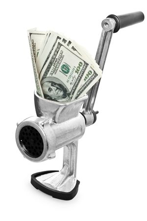 milled: Money concept. Dollars are milled in a meat grinder