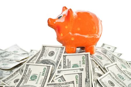 money with piggy bank  isolated on white background photo