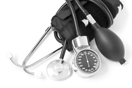 medicine object. blood pressure with stethoscope isolated on white background Stock Photo - 5436380