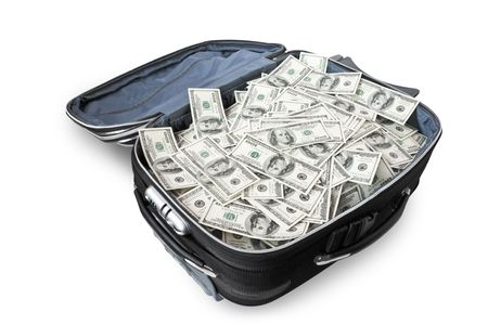 open suitcase: lot of money in a suitcase isolated on white Stock Photo
