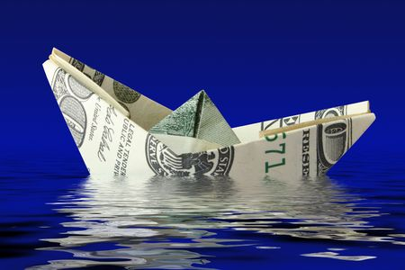 insolvent: crisis concept. money ship wreck in water  Stock Photo