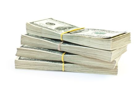 lot of money isolated on white background Stock Photo
