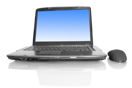 computer technology. modern laptop isolated on white background  photo