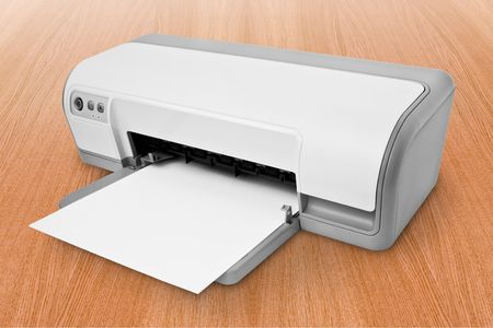 inkjet: computer technology. white ink-jet printer with paper