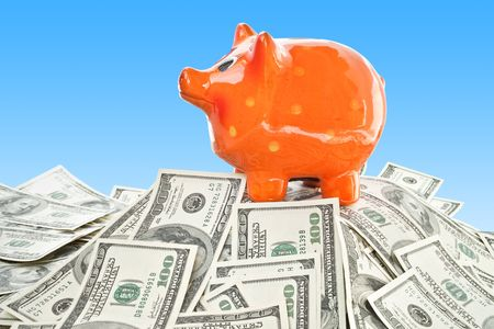 finance concept. lot of money with piggy bank  Stock Photo - 6085939