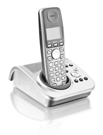digital cordless answering system isolated on white photo