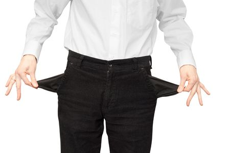 businessman bankrupt. hands with two empty pockets photo