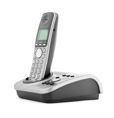 communication objects. digital cordless answering system isolated on white photo
