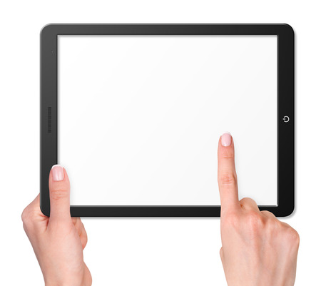 Illustration of modern computer tablet with hands. Isolated on white background