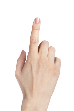female hand index finger pointing up isolated on white Banque d'images