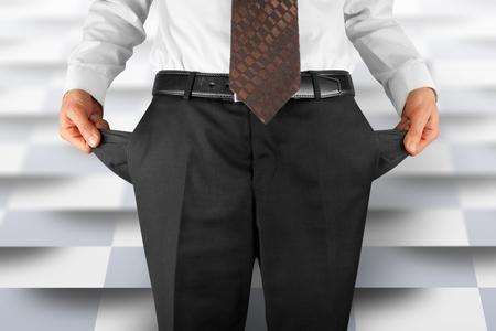 bankrupt business man showing empty pockets  hands Banco de Imagens - 39075821