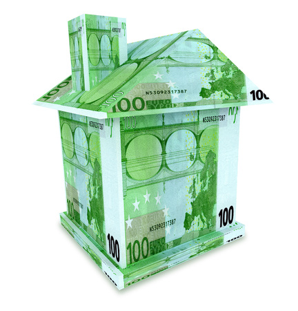 House euro from the money isolated on white Reklamní fotografie