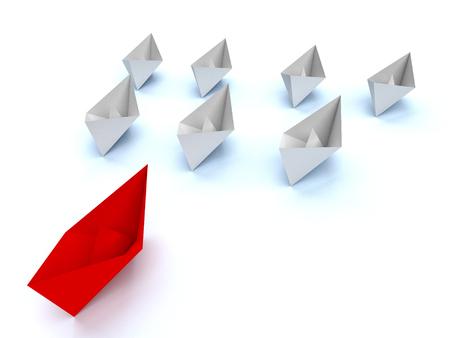 Leadership concept. One red leader ship leads other white ships forward Reklamní fotografie