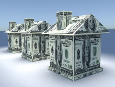Tree 3d houses from the money dollars. Business concept