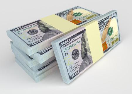 Grote geld stack van dollars usa. Finance concepten
