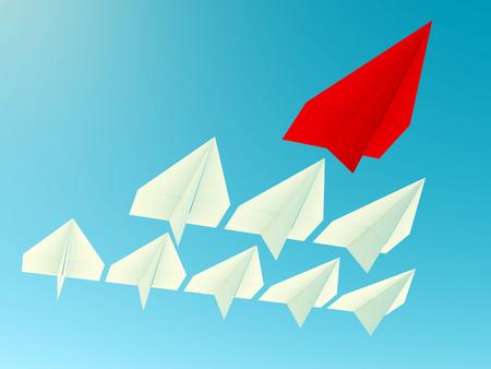Leiderschap concept. Een rode leider vliegtuig leidt andere blauwe vlakken vooruit