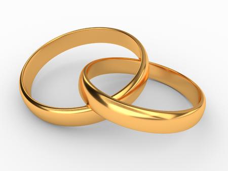 Illustration of two connected gold wedding rings Reklamní fotografie