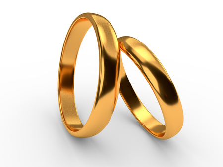 Illustration of two wedding gold rings lie on each other