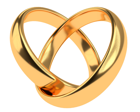 Heart with two connected gold wedding rings isolated on white Stock Photo