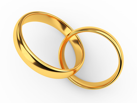 Illustration of two connected gold wedding rings Archivio Fotografico