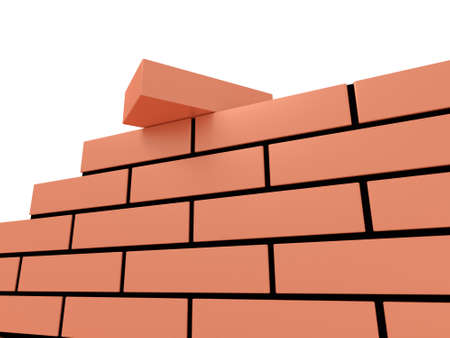 Illustration of brick wall. Concept of building and construction. 3d render