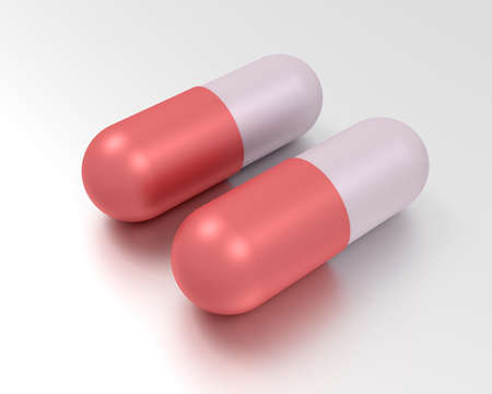 Medicine concept. Illustration of two capsule pills. 3d render Stock Photo