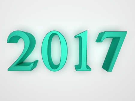 Green numbers of New Year 2017 with shadow. 3d render