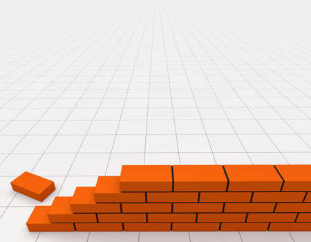 Illustration of brick wall with blank background. Concept of building and construction. 3d render