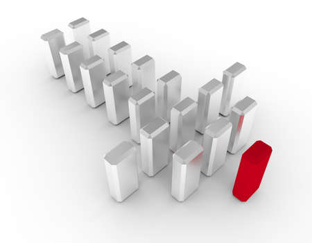 Illustration of leader leads small team forward. 3d render