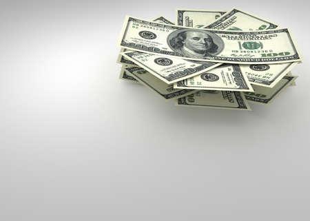 Money and finance concept - several dollars banknotes. 3d render Reklamní fotografie