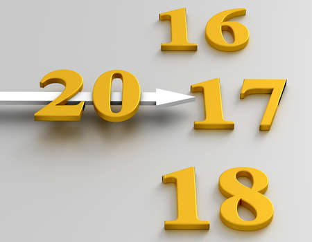 Clock with an annual. The arrow points to 2017 year
