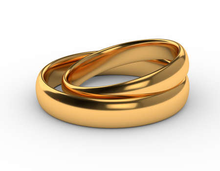 Two wedding gold rings lie on each other isolated on white. 3d render