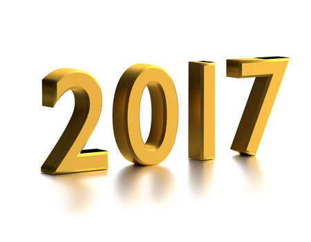 Yellow numbers of New Year 2017 with reflection. 3d render
