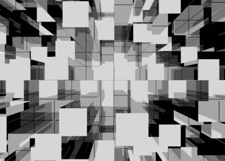 Illustration of abstract mosaic black and white background. 3d render Фото со стока
