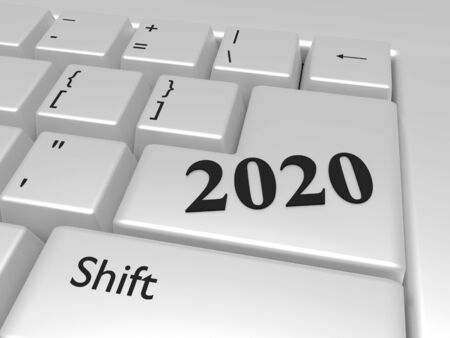 2020 new year over Enter computer key. 3d render