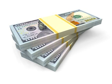 Big money stacks from dollars isolated on white. Business and finance conceptual. 3d render 版權商用圖片