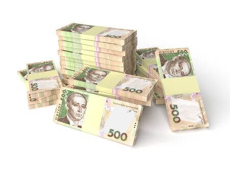 Large stack of hryvnia money (200 banknotes) isolated on white background. Business concept. 3d rendering