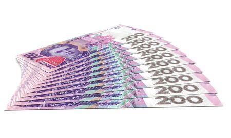 Stack of hryvnia ukrainian money. Business concept. 3d rendering