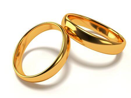 Ilustración de dos anillos de boda de oro se encuentran el uno en el otro. Representación 3d