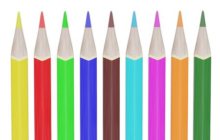 9 colorful pencils isolated on white background. 3d rendering Reklamní fotografie