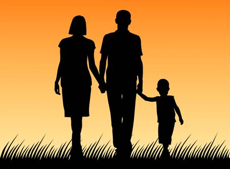 Vector illustration of a family. Silhouette of father and mother and son Vetores