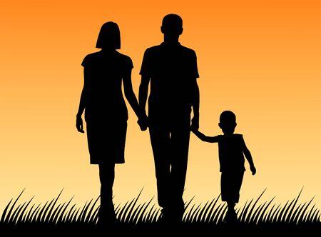 Vectorillustratie van een gezin. Silhouet van vader en moeder en zoon Vector Illustratie