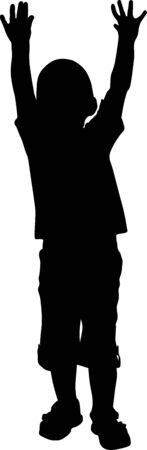 Vector illustration. Silhouette of a boy who raised his hands up